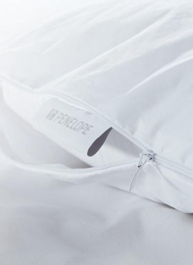 Penelope Anti Alerjik Kaz Tüyü Yastık Seti - Bronze Yastık 50x70 & Nomite Yastık Alezi 50x70  Beyaz